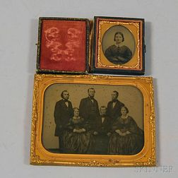 Half-plate Ambrotype Portrait of the Ballou Family and a Sixth-plate Portrait of a   Related Young Woman
