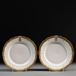 Two Porcelain Plates Decorated with Grand Duchess Maria Pavlovna's Cipher