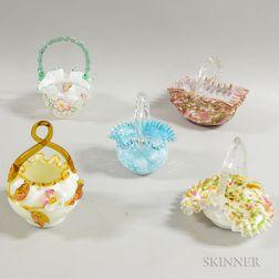 Five Victorian Art Glass Bride's Baskets