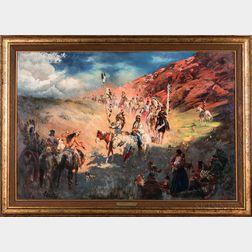 Stephen Juharos (Arizona, 1913-2010)    Toward Indians' Pow-Wow