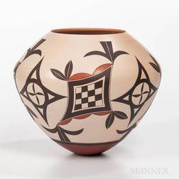 Contemporary Polychrome Pottery Jar
