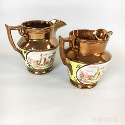 Two Transfer-decorated Copper Lustre Jugs