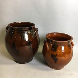 Two Glazed Redware Pottery Jars