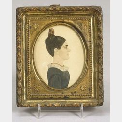 Attributed to Rufus Porter (American, 1792-1884)  Miniature Profile Portrait of a Woman, c. 1820.