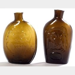 Two Blown Molded Amber Glass Half Pint Flasks