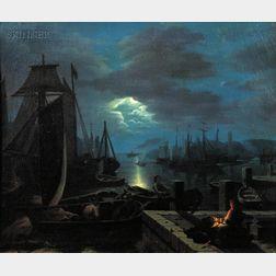 Manner of Johann Mongels Culverhouse (Dutch/American, 1820-1891)      Moonlit Harbor