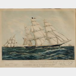 """Nathaniel Currier, publisher (American, 1813-1888)      CLIPPER SHIP """"SWEEPSTAKES.,"""""""