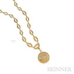 18kt Gold and Diamond Zodiac Pendant/Brooch and Chain, David Webb