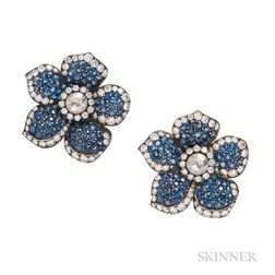 Sapphire and Diamond Flower Earclips, Evelyn Clothier