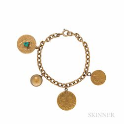 14kt Gold Charm Bracelet with Two Gold Coins