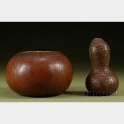 Two Pre-Columbian Decorated Gourds