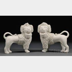Pair of Parian Porcelain Poodle Figures