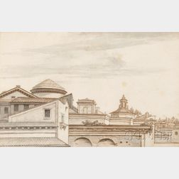 Attributed to René Antoine Houasse (French, born c. 1645-1710)      Two Framed Architectural Drawings: Italian Rooftops
