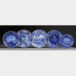 Five Staffordshire Pottery Blue Transfer-decorated Plates