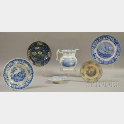 Six Pieces of Assorted English Light Blue Transfer-decorated Staffordshire   Tableware