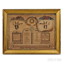 Large Parcel-gilt Watercolor and Pen and Ink Biblical Work on Paper