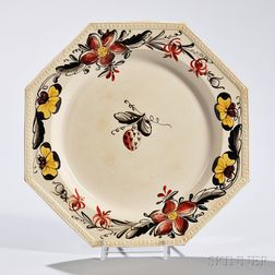 Polychrome Enameled Creamware Pansy Plate