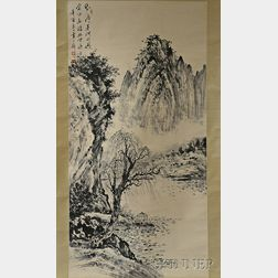 Hanging Scroll Depicting a Mountain and River Landscape