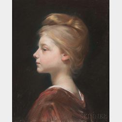 Albert Besnard (French, 1849-1934)      Profile of a Young Woman with Upswept Hair