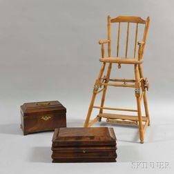Walnut Tea Caddy, a Mahogany Veneer Ogee Box, and a Bamboo-turned High Chair.     Estimate $200-250
