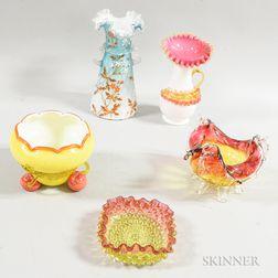 Five Victorian Art Glass Vessels