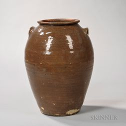 Glazed Stoneware Jar with Lug Handles