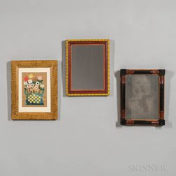 Two Framed Mirrors and a Basket of Flowers Collage