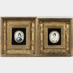 American School, 19th Century      Pair of Miniature Portraits of Samuel B. and Sarah Anne Bannister