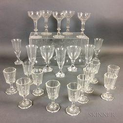 Twenty-three Pieces of Colorless Glass Stemware