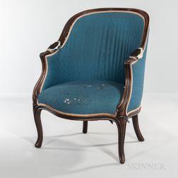 Louis XV-style Walnut Bergere