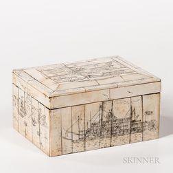 Scrimshaw-decorated Whalebone Covered Box