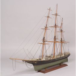 Carved and Painted Wooden Ship Model