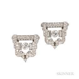 Art Deco Platinum and Diamond Dress Clips and Bracelet, Cartier