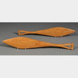 Two Northwest Coast Carved Wood Dance Paddles