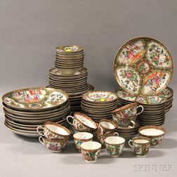 Approximately Eighty-seven Pieces of Chinese Export Porcelain Rose Medallion   Tableware