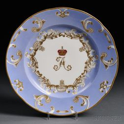 Russian Imperial Porcelain Factory Plate from the Farm Palace Banquet Service
