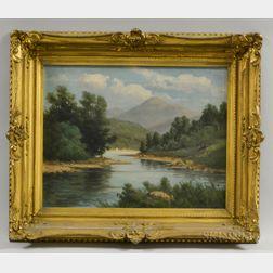 C. Myron Clark (Massachusetts, 1858-1925)       River Scene with Mountains