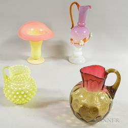 Four Victorian Art Glass Vessels