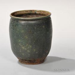Green-glazed Redware Jar