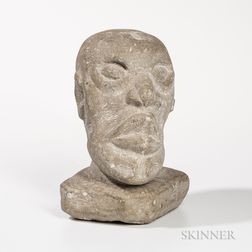 Carved Limestone Stone Head of a Man