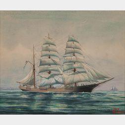 John Leavitt (Massachusetts/Connecticut, 1905-1974)      Portrait of a Three-masted Vessel