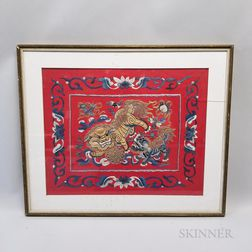 Framed Chinese Textile with Foo Lion and Cub