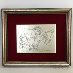"""Umberto Romano """"Toreador and Bull"""" Etched Silver Plaque"""