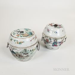 Two Chinese Export Famille Rose Porcelain Jars