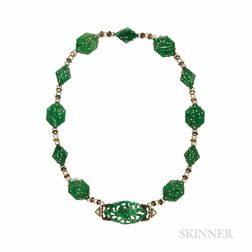 Art Deco Walter Lampl 14kt Gold and Carved Jade Necklace