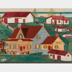 American/Canadian School, Late 19th/Early 20th Century      Portrait of a Blue Victorian Farmhouse and Barns