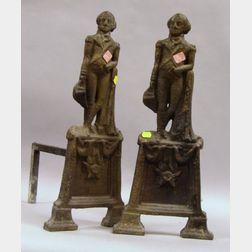 Pair of Cast Iron George Washington Figural Andirons.
