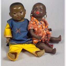 Koppelsdorf Black and AM Oriental Painted Bisque Head Dolls