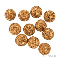 Eleven Antique Silver-gilt Filigree Buttons