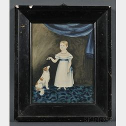 American School, 19th Century      Small Folk Portrait of a Girl Playing with Her Spaniel.